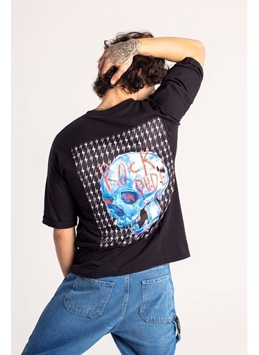 XHAN Siyah Şimşek Baskılı Oversize T-Shirt 1Kxe1-44666-02 Siyah